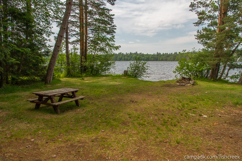Campsite Photo of Site 220 at Fish Creek Pond Campground, New York - Looking at Site from Part Way In