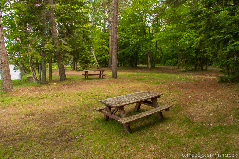 Campsite Photo of Site 220 at Fish Creek Pond Campground, New York - Cross Site View