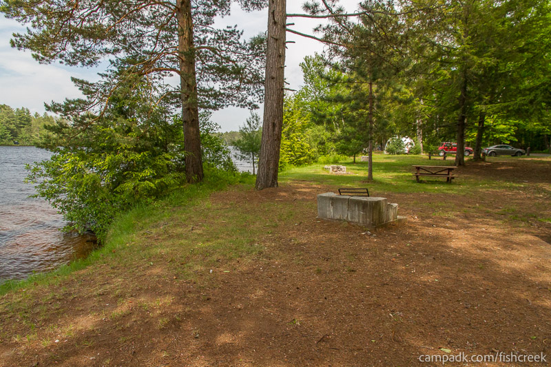 Campsite Photo of Site 222 at Fish Creek Pond Campground, New York - Cross Site View