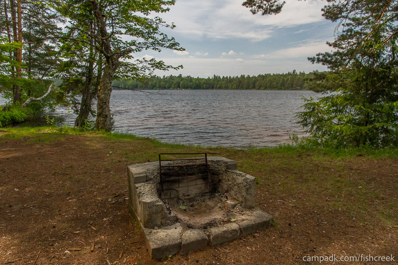 Campsite Photo of Site 222 at Fish Creek Pond Campground, New York - Fireplace View