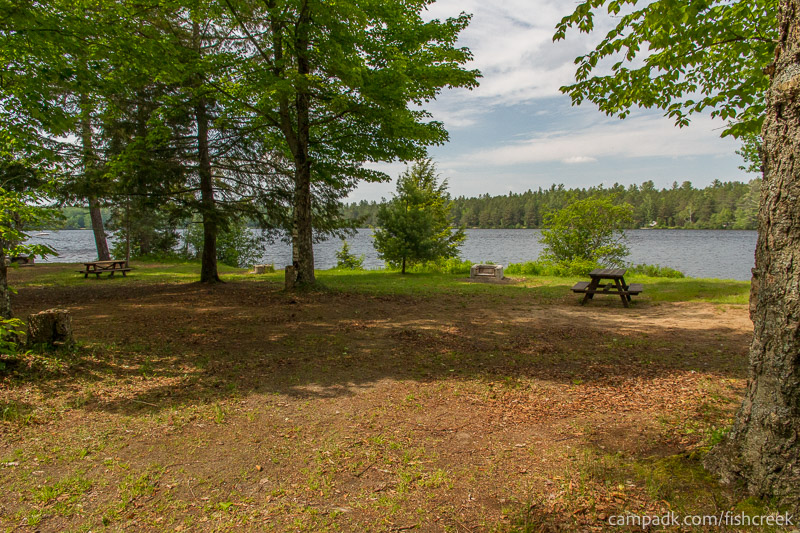 Campsite Photo of Site 224 at Fish Creek Pond Campground, New York - Looking at Site from Road