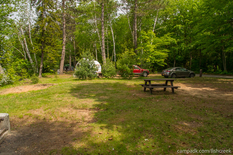 Campsite Photo of Site 224 at Fish Creek Pond Campground, New York - Cross Site View