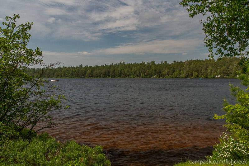 Campsite Photo of Site 224 at Fish Creek Pond Campground, New York - View from Shoreline