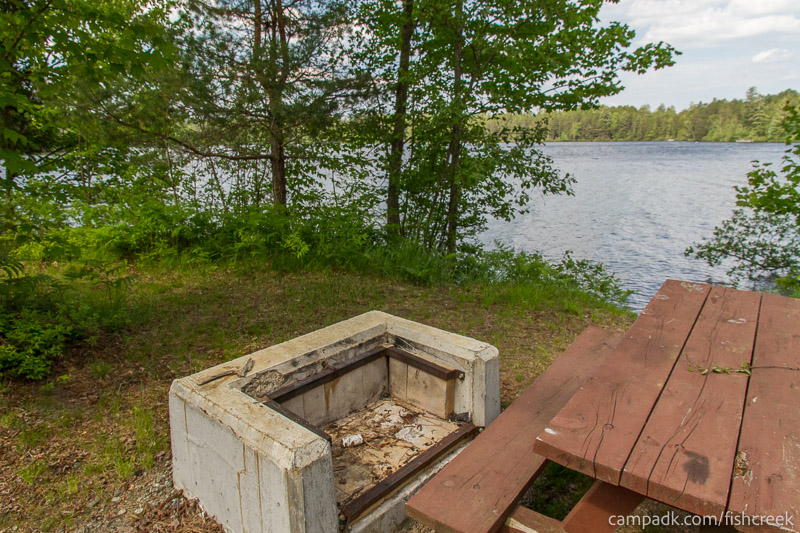 Campsite Photo of Site 240 at Fish Creek Pond Campground, New York - Fireplace View