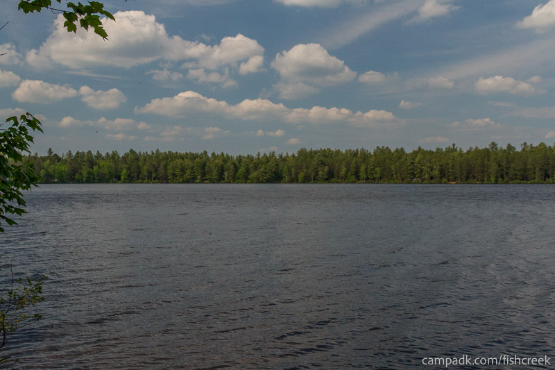Campsite Photo of Site 240 at Fish Creek Pond Campground, New York - View from Shoreline