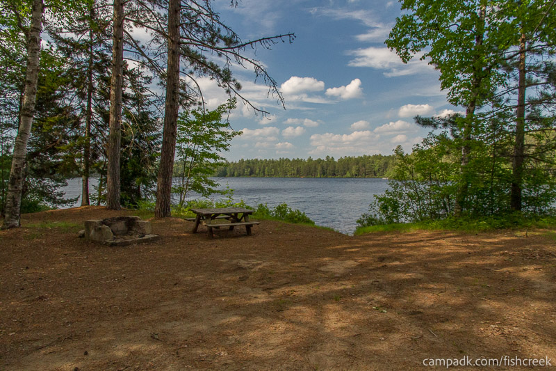 Campsite Photo of Site 247 at Fish Creek Pond Campground, New York - Looking at Site from Part Way In