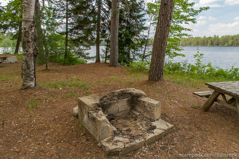 Campsite Photo of Site 247 at Fish Creek Pond Campground, New York - Fireplace View