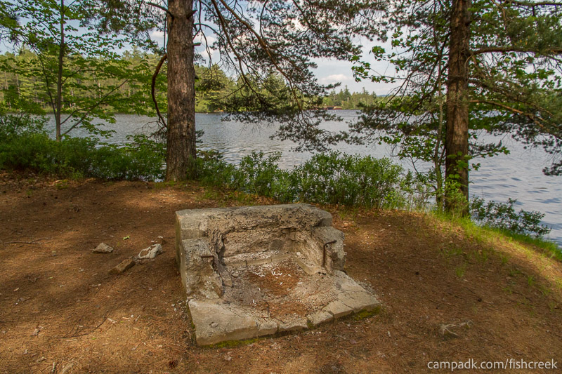 Campsite Photo of Site 255 at Fish Creek Pond Campground, New York - Fireplace View