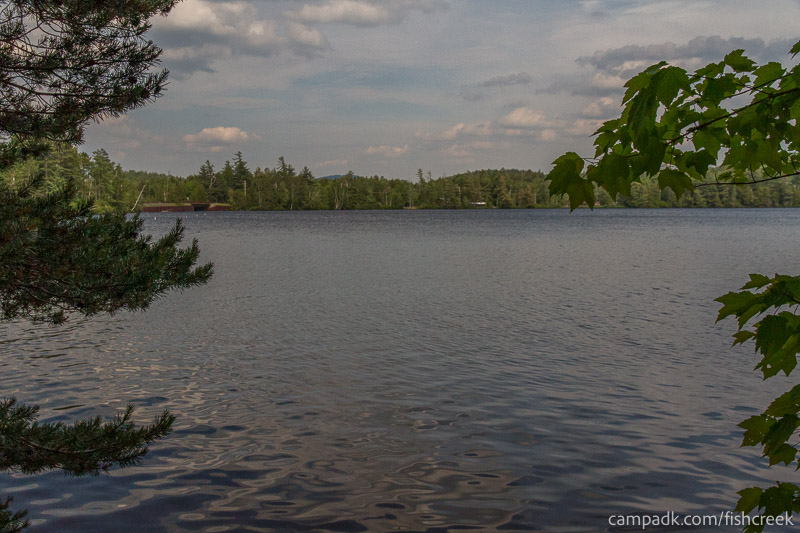 Campsite Photo of Site 255 at Fish Creek Pond Campground, New York - View from Shoreline
