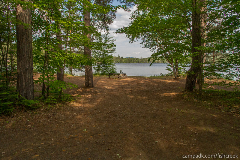 Campsite Photo of Site 256 at Fish Creek Pond Campground, New York - Looking at Site from Road