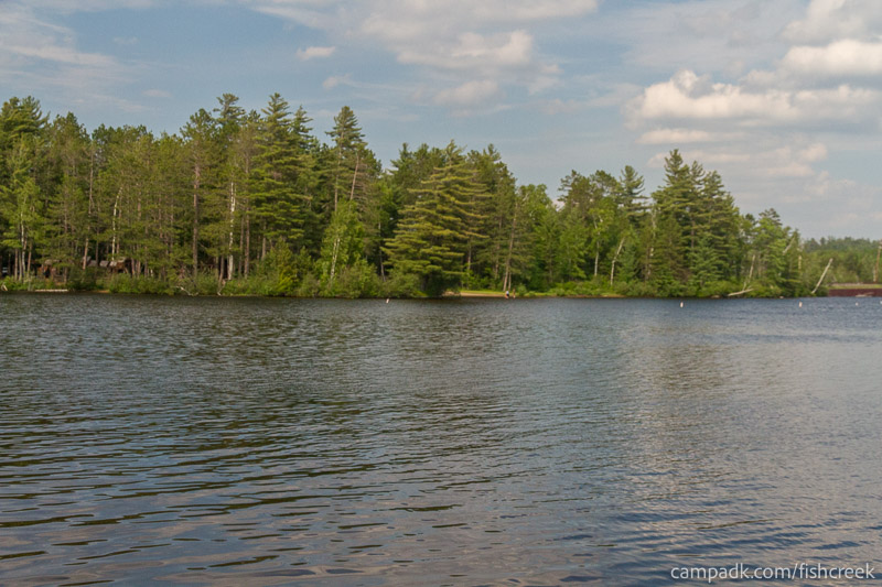 Campsite Photo of Site 256 at Fish Creek Pond Campground, New York - View from Shoreline