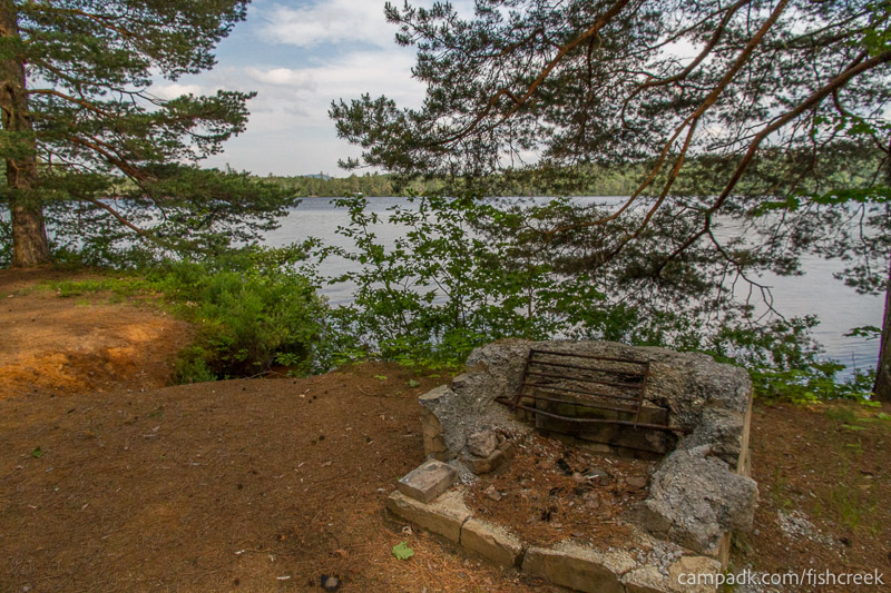 Campsite Photo of Site 259 at Fish Creek Pond Campground, New York - Fireplace View