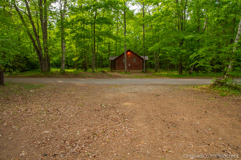 Campsite Photo of Site 260 at Fish Creek Pond Campground, New York - Looking Back Towards Road