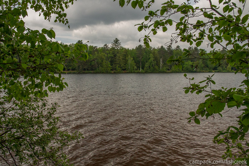 Campsite Photo of Site 69 at Fish Creek Pond Campground, New York - View from Shoreline