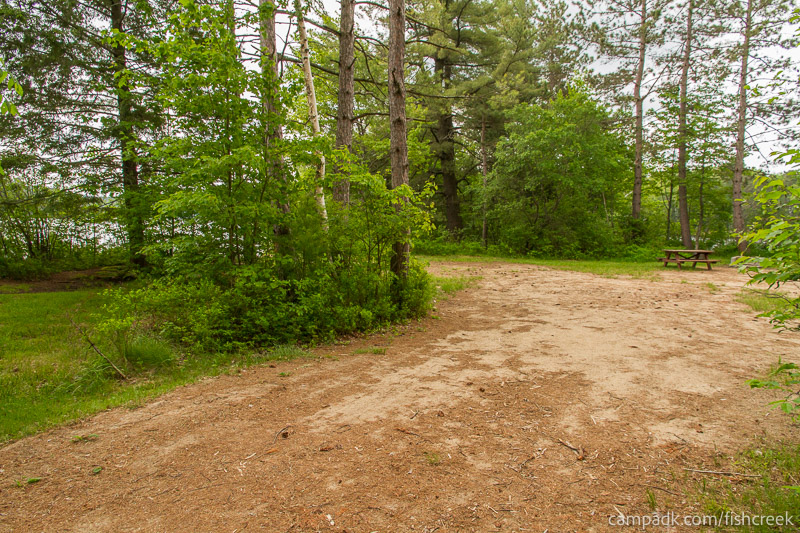 Campsite Photo of Site 66 at Fish Creek Pond Campground, New York - Looking at Site from Part Way In