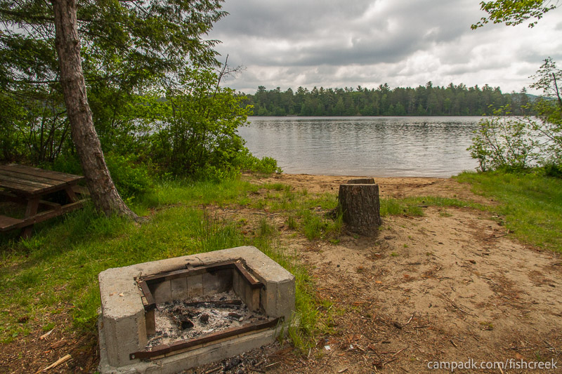 Campsite Photo of Site 66 at Fish Creek Pond Campground, New York - Fireplace View