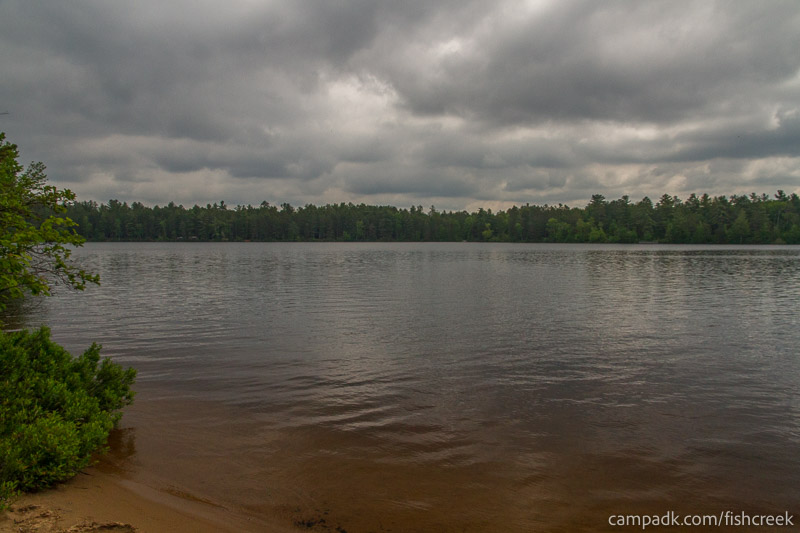 Campsite Photo of Site 66 at Fish Creek Pond Campground, New York - View from Shoreline