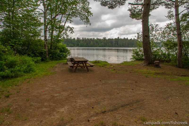 Campsite Photo of Site 65 at Fish Creek Pond Campground, New York - Looking at Site from Part Way In
