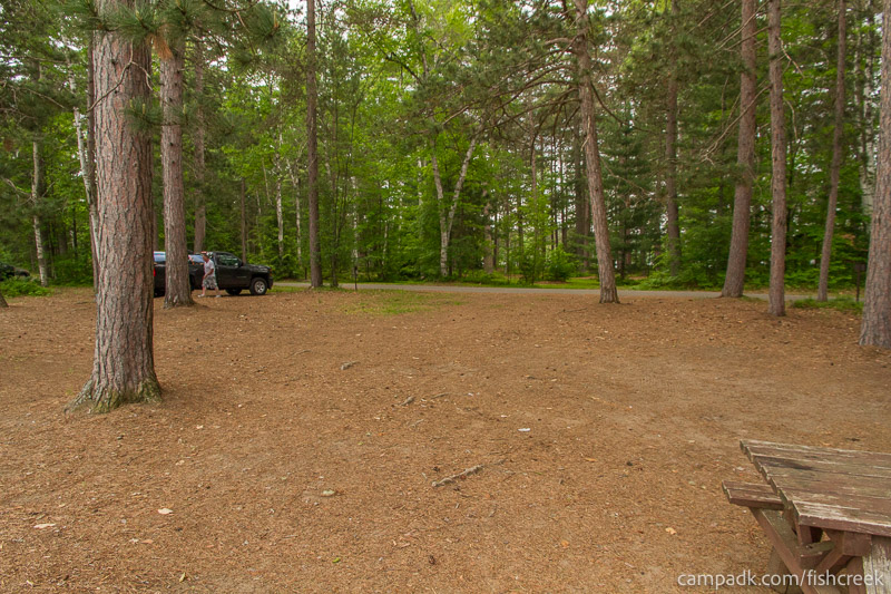 Campsite Photo of Site 59 at Fish Creek Pond Campground, New York - Looking Back Towards Road