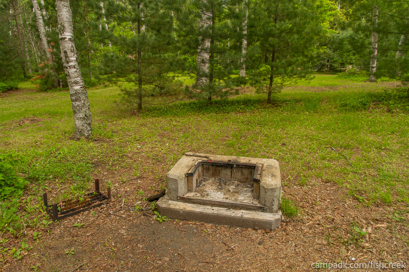 Campsite Photo of Site A5 at Fish Creek Pond Campground, New York - Fireplace View