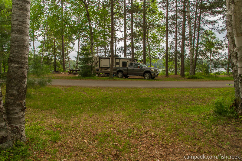 Campsite Photo of Site A5 at Fish Creek Pond Campground, New York - Looking Back Towards Road