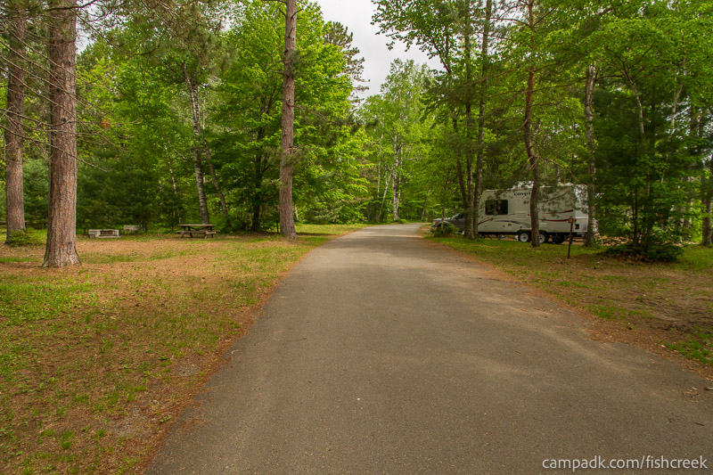 Campsite Photo of Site A5 at Fish Creek Pond Campground, New York - View Down Road from Campsite