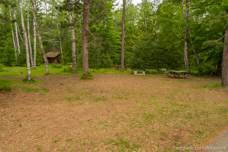 Campsite Photo of Site A4 at Fish Creek Pond Campground, New York - Looking at Site from Road