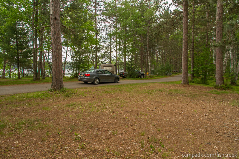 Campsite Photo of Site A4 at Fish Creek Pond Campground, New York - Looking Back Towards Road