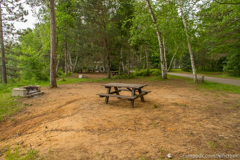 Campsite Photo of Site 54 at Fish Creek Pond Campground, New York - Cross Site View