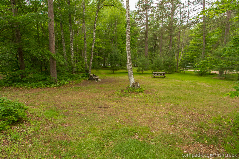Campsite Photo of Site A2 at Fish Creek Pond Campground, New York - Looking at Site from Road