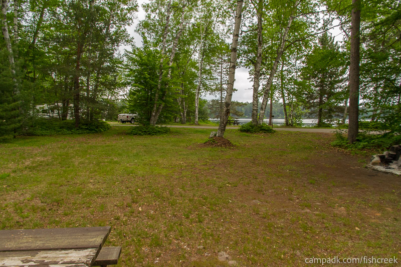 Campsite Photo of Site A2 at Fish Creek Pond Campground, New York - Looking Back Towards Road