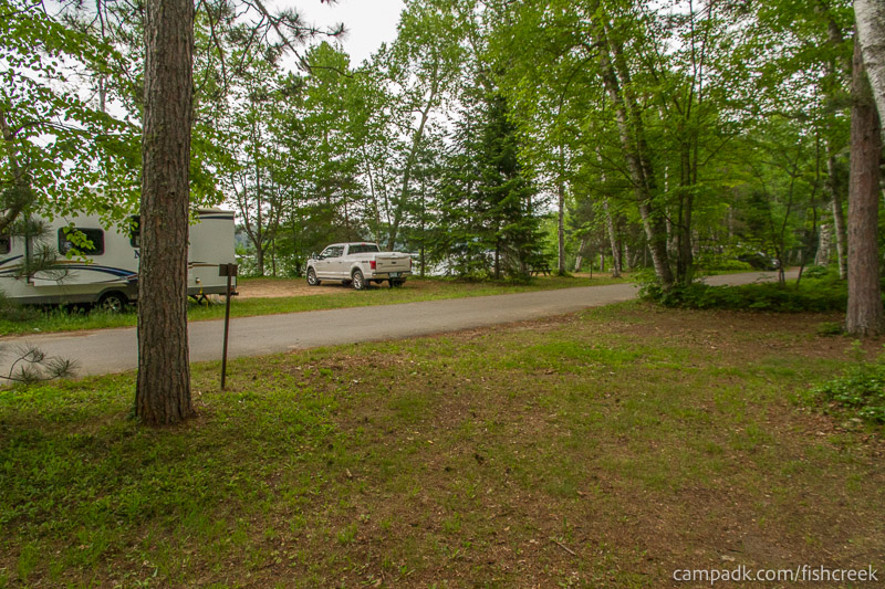 Campsite Photo of Site A1 at Fish Creek Pond Campground, New York - Looking Back Towards Road