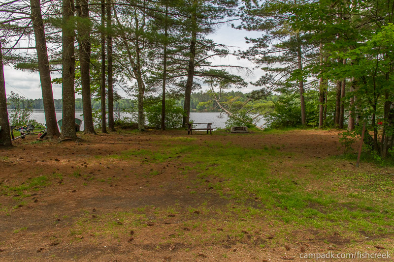 Campsite Photo of Site 33 at Fish Creek Pond Campground, New York - Looking at Site from Road