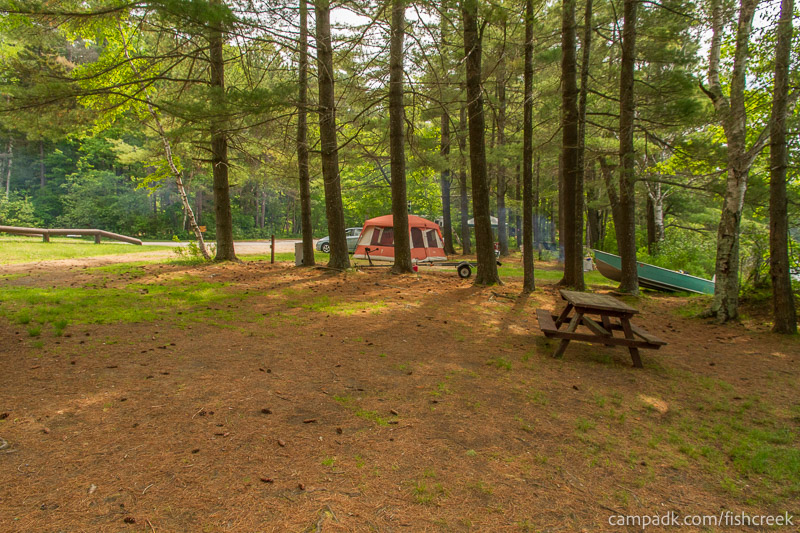 Campsite Photo of Site 33 at Fish Creek Pond Campground, New York - Cross Site View