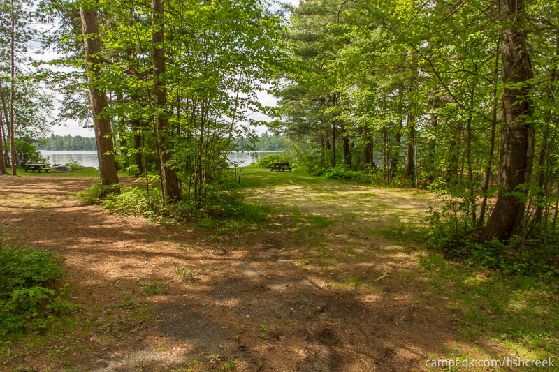 Campsite Photo of Site 28 at Fish Creek Pond Campground, New York - Looking at Site from Road