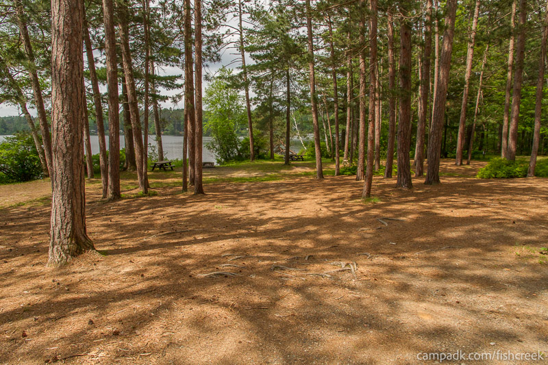 Campsite Photo of Site 26 at Fish Creek Pond Campground, New York - Looking at Site from Road
