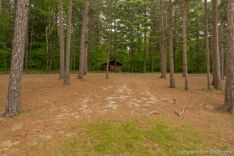 Campsite Photo of Site 26 at Fish Creek Pond Campground, New York - Looking Back Towards Road