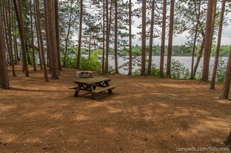 Campsite Photo of Site 21 at Fish Creek Pond Campground, New York - Looking at Site from Part Way In