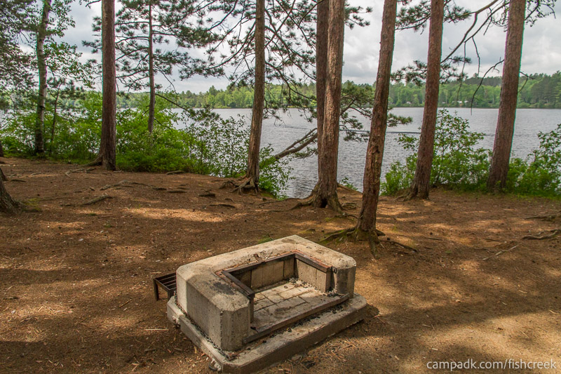 Campsite Photo of Site 21 at Fish Creek Pond Campground, New York - Fireplace View