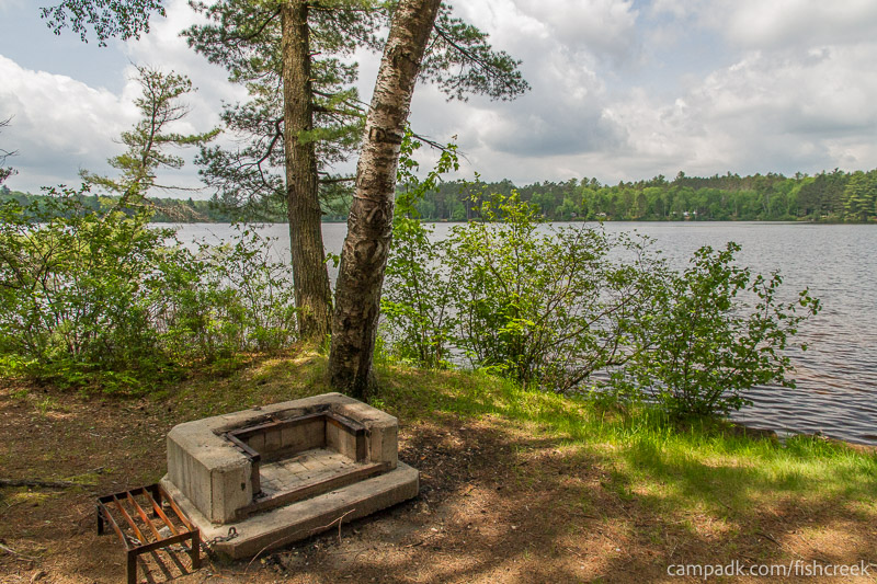 Campsite Photo of Site 18 at Fish Creek Pond Campground, New York - Fireplace View