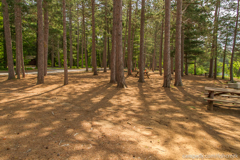 Campsite Photo of Site 16 at Fish Creek Pond Campground, New York - Cross Site View