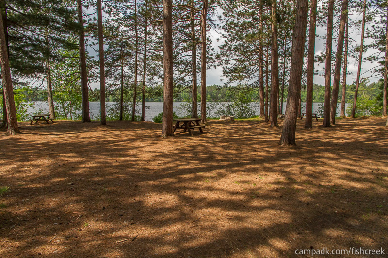 Campsite Photo of Site 15 at Fish Creek Pond Campground, New York - Looking at Site from Road