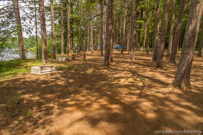 Campsite Photo of Site 15 at Fish Creek Pond Campground, New York - Cross Site View