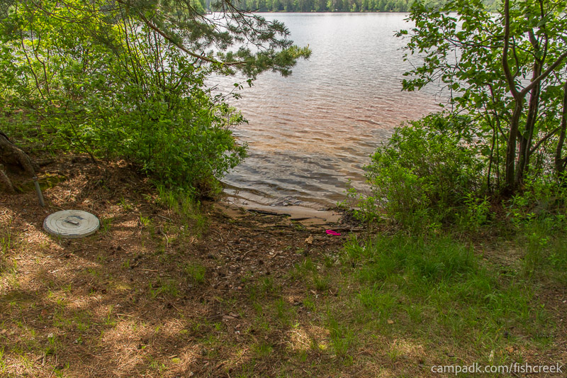 Campsite Photo of Site 14 at Fish Creek Pond Campground, New York - Shoreline