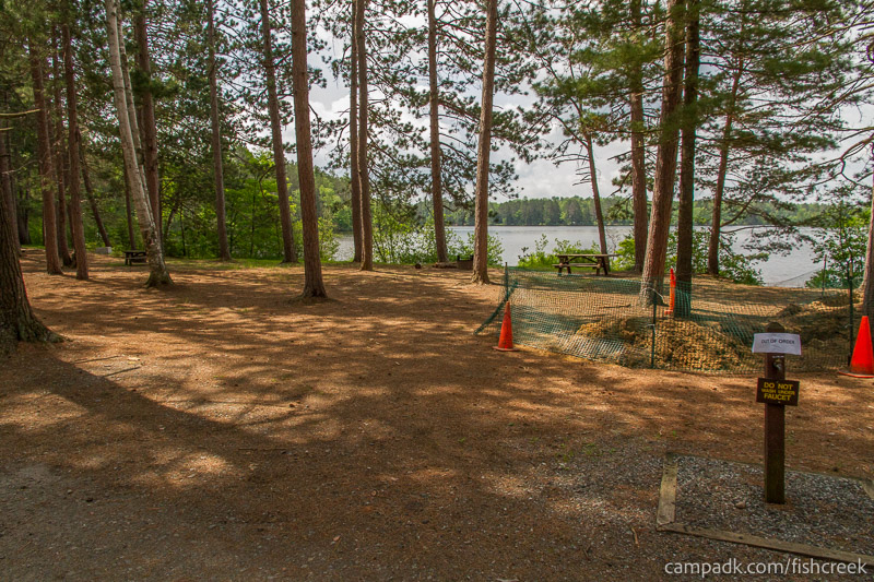 Campsite Photo of Site 13 at Fish Creek Pond Campground, New York - Looking at Site from Road