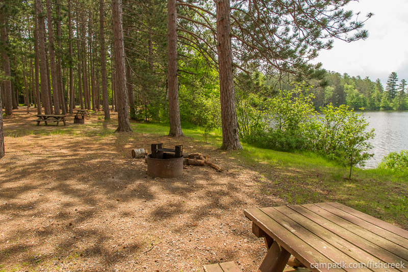 Campsite Photo of Site 13 at Fish Creek Pond Campground, New York - Cross Site View