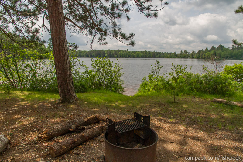 Campsite Photo of Site 13 at Fish Creek Pond Campground, New York - Fireplace View