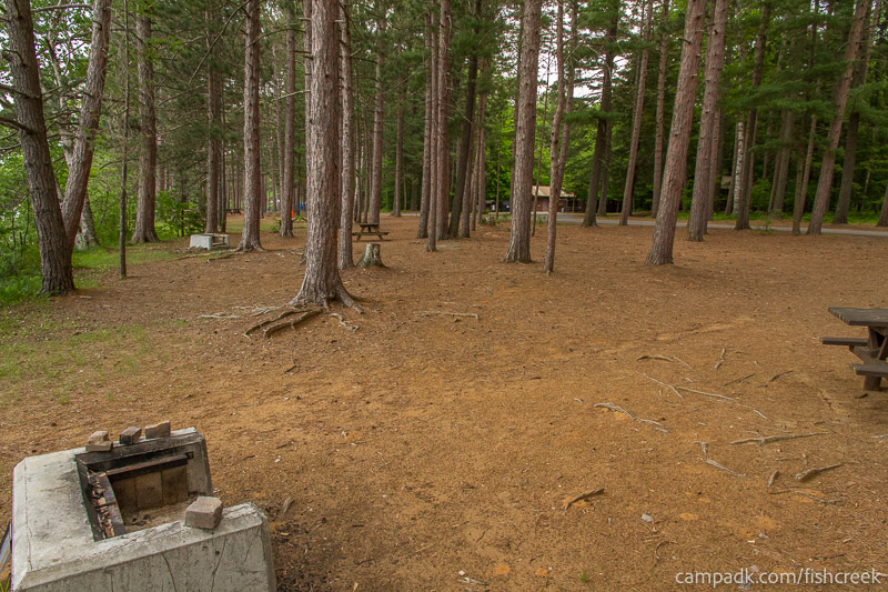 Campsite Photo of Site 10 at Fish Creek Pond Campground, New York - Cross Site View