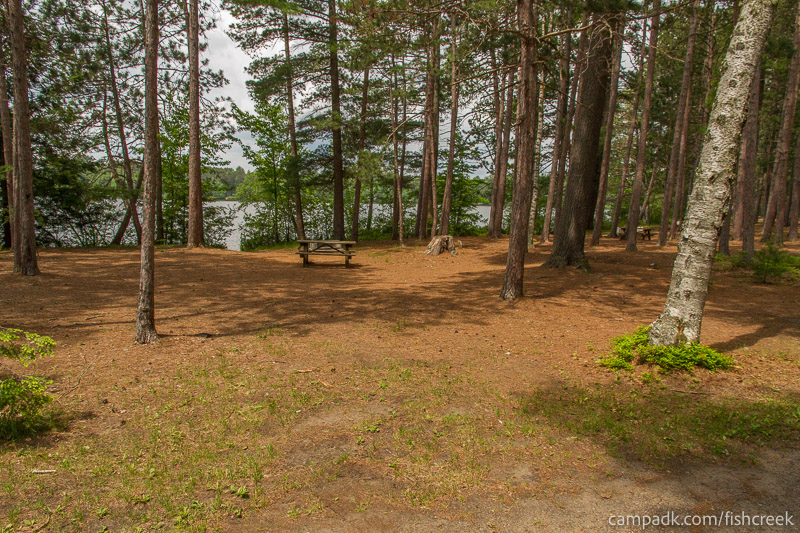 Campsite Photo of Site 8 at Fish Creek Pond Campground, New York - Looking at Site from Road