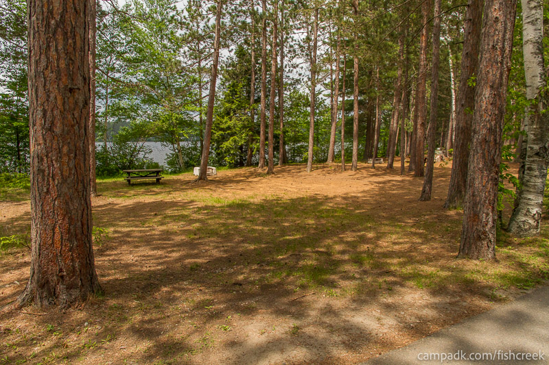 Campsite Photo of Site 7 at Fish Creek Pond Campground, New York - Looking at Site from Road
